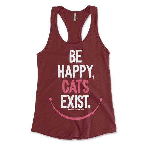 Be Happy Cats Exist Womens Racerback Tank