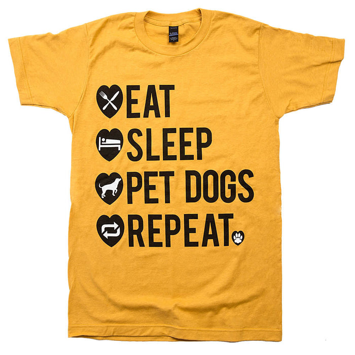 eat sleep pet dogs repeat shirt ginger