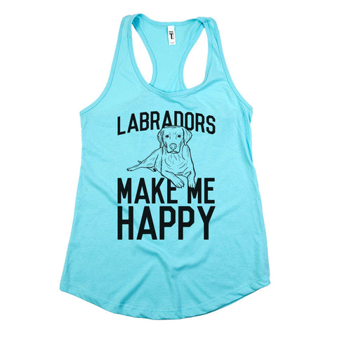 Labradors Make Me Happy Womens Racerback Tank Top Cancun Aqua
