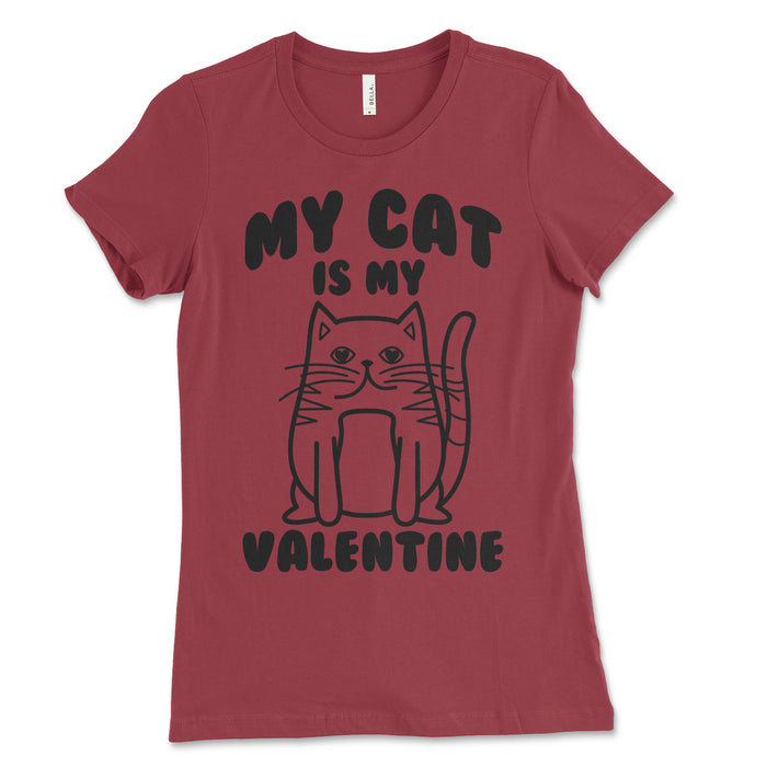 Womens My Cat Is My Valentine  Shirt