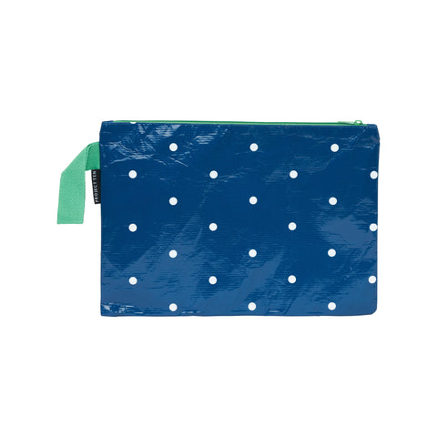 Navy Micro Dot Zip Pouch