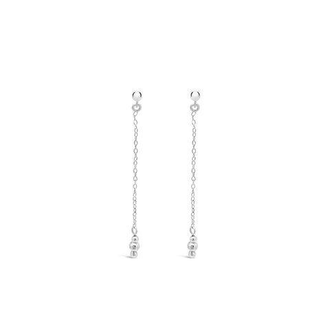 Tiny Triple Ball Chain Drop Earrings