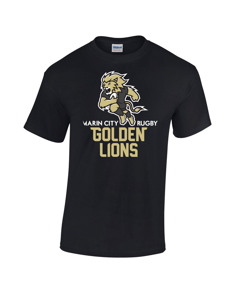 Marin City Golden Lions Youth Rugby tshirt - Black - Youth Sizes avail. - Rugby Ethos