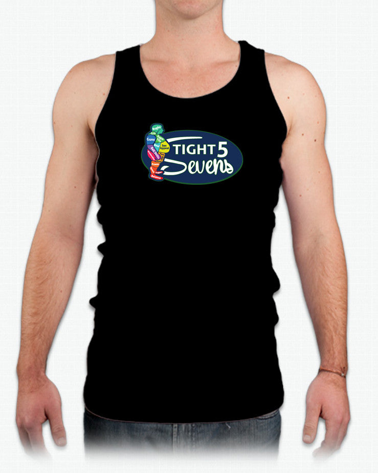 Tight 5 Sevens Tank-Style Rugby Shirt - color Black - with model - Rugby Ethos