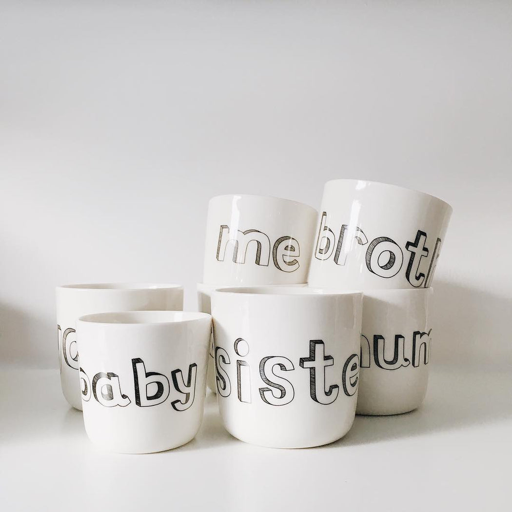 Liebe Porcelain mug mum/dad/me/you/sister/brother - Tea and Kate - Liebe - 1