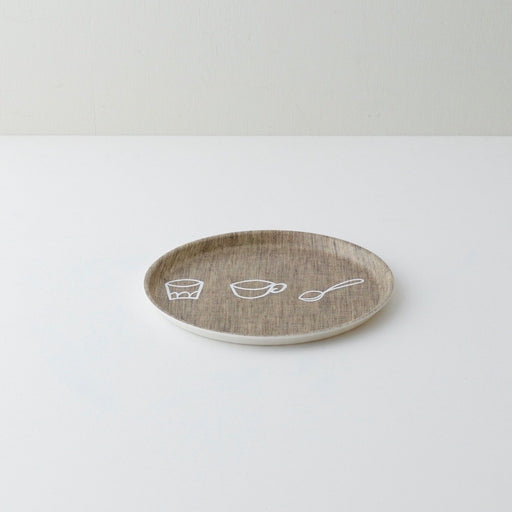 100% Linen Cutlery natural round tray - Tea and Kate