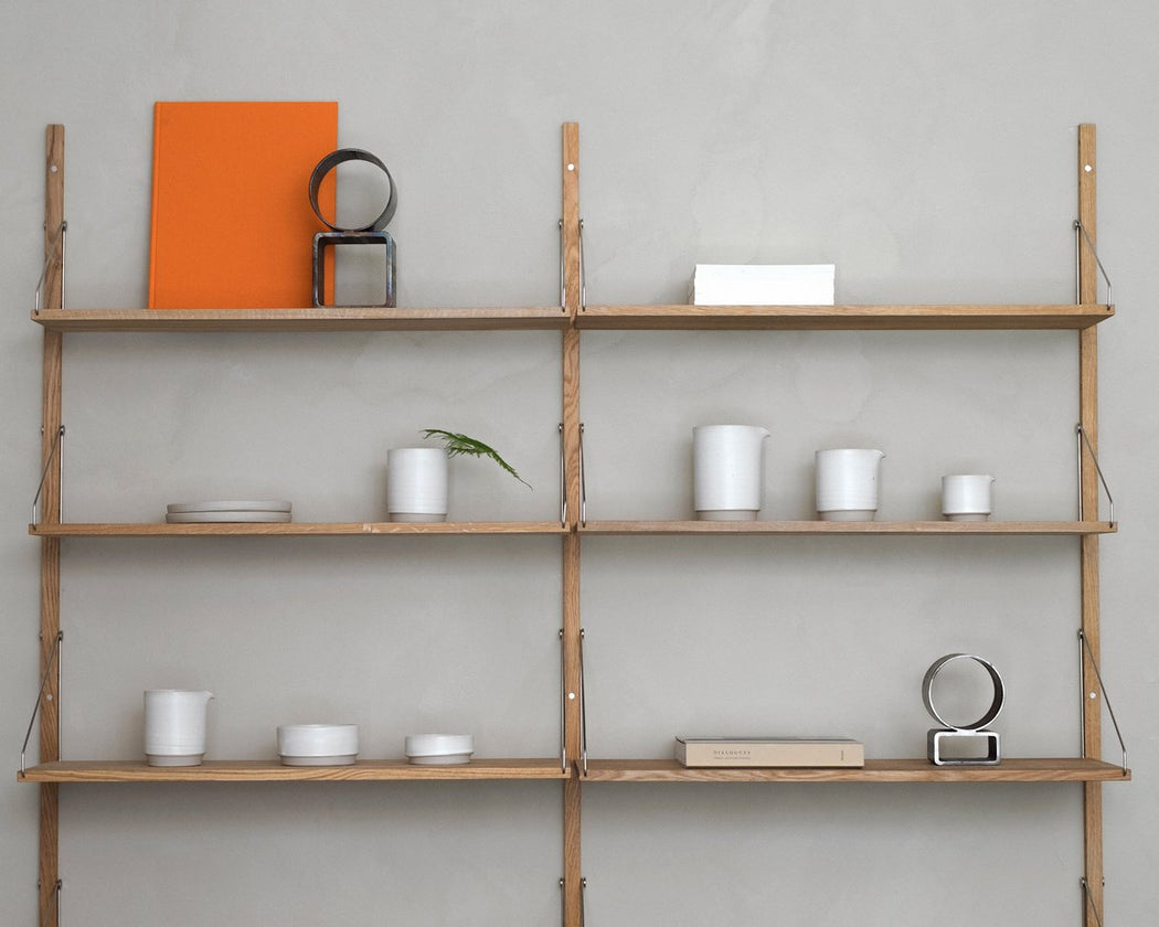 Shelf library Natural H1852 | Double Section