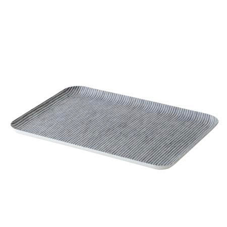 linen grey white stripe large tray