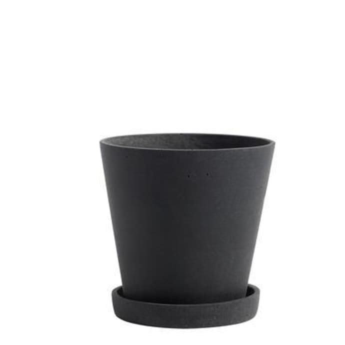 FLOWERPOT WITH SAUCER BLACK SMALL