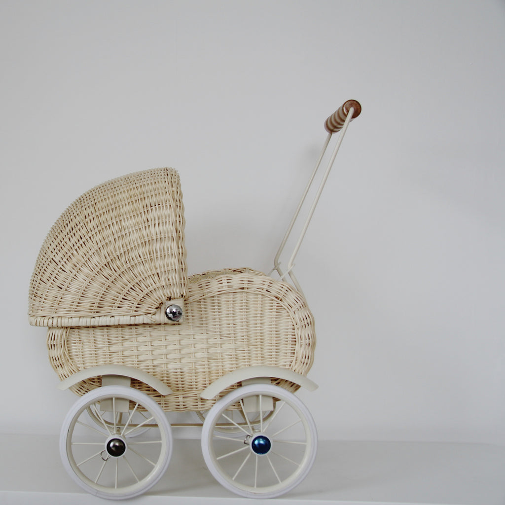 Vintage style 1950s cream wicker dolls pram - Tea and Kate - vintage
