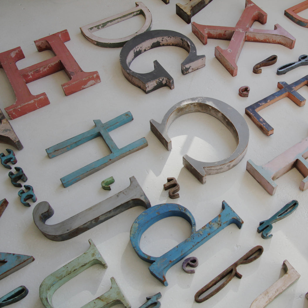 Vintage French metal letters large - Tea and Kate - vintage - 1