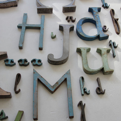 Vintage French metal letters small