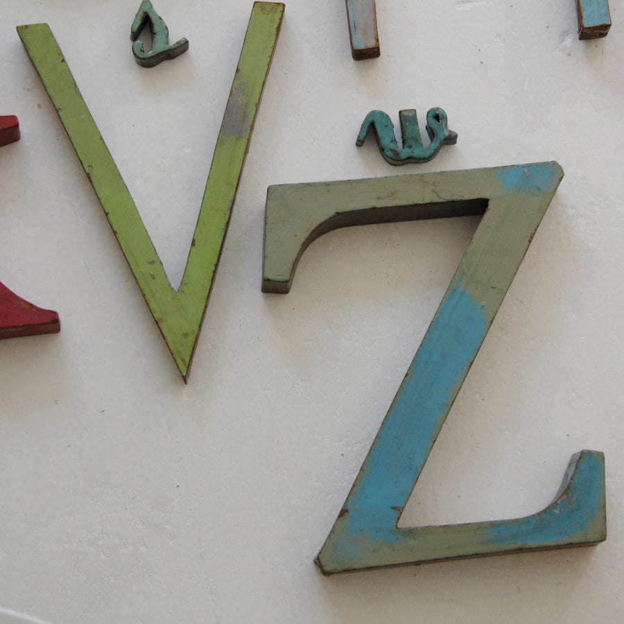 Vintage French metal letters medium - Tea and Kate - vintage - 1