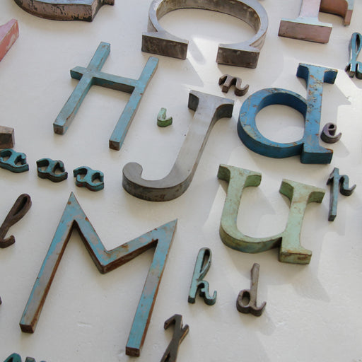 Vintage French metal letters medium was £16 - Tea and Kate