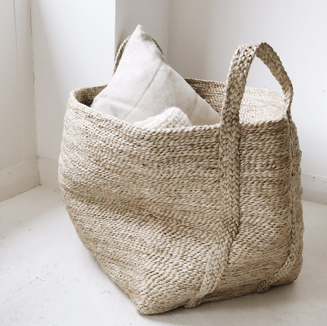 Swedish Large Natural Jute Basket - Tea and Kate