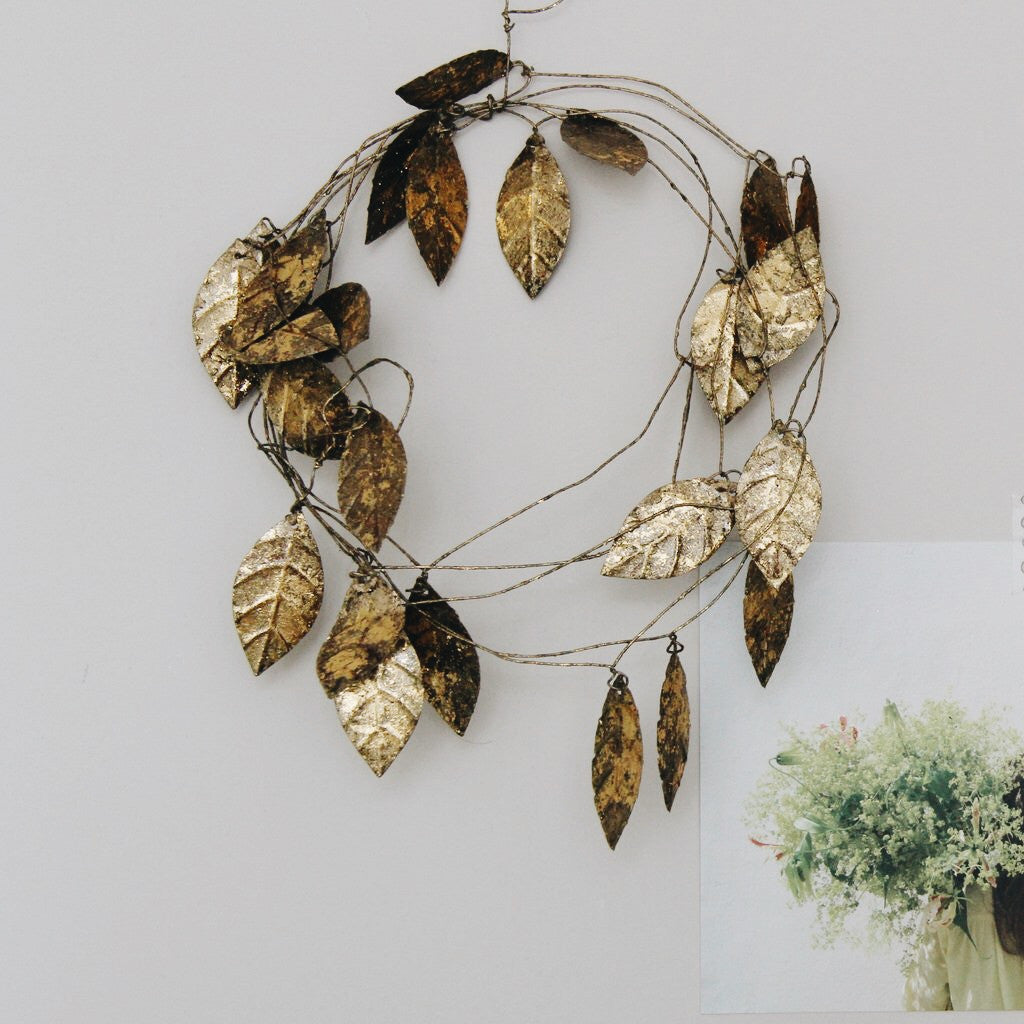 Fog Linen large gold leaf garland - Tea and Kate