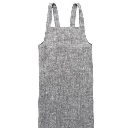 Linen square cross work apron HERRINGBONE BLACK