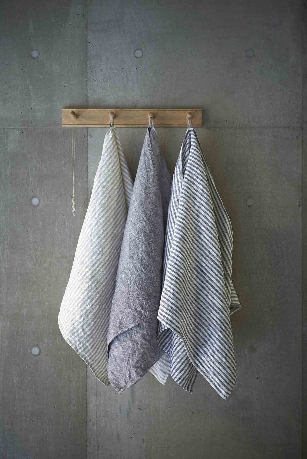 Linen Chambray Towel Natural Stripes - Tea and Kate