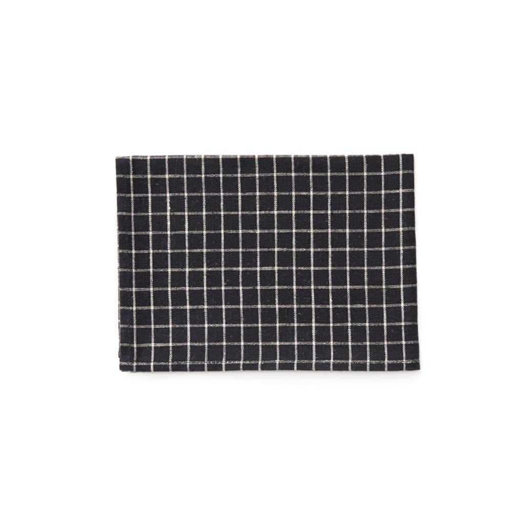 Linen Kitchen Cloth Black plaid