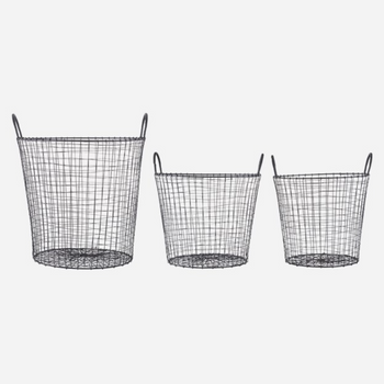 Set of Three Wire round Industrial style Baskets was £165
