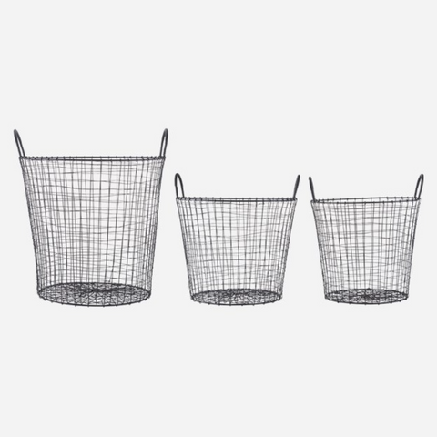 Set of Three Wire round Industrial style Baskets