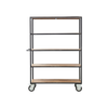 INDUSTRIAL Shelving unit CASTOR wheels Black/Wood - Tea and Kate