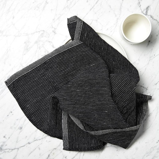 BLACK LINEN TEA TOWEL PINSTRIPE
