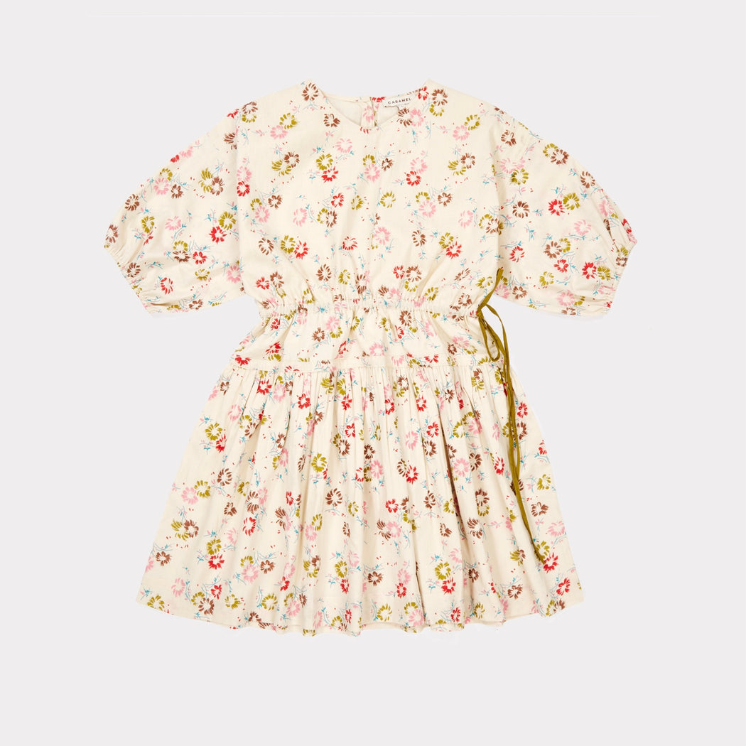 Cyclamen Dress, Painted Flower Print Cream was £110 - Tea and Kate