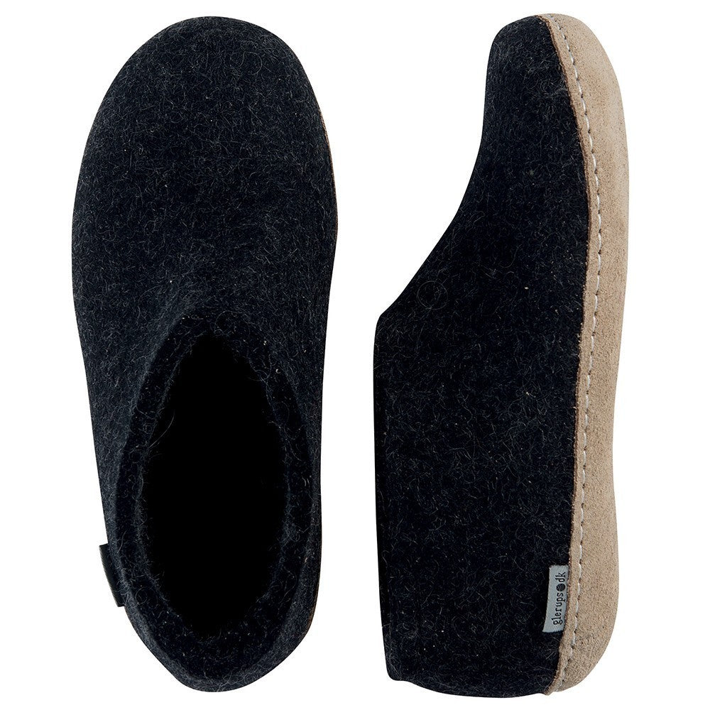 DANISH Felt house shoe charcoal - Tea and Kate