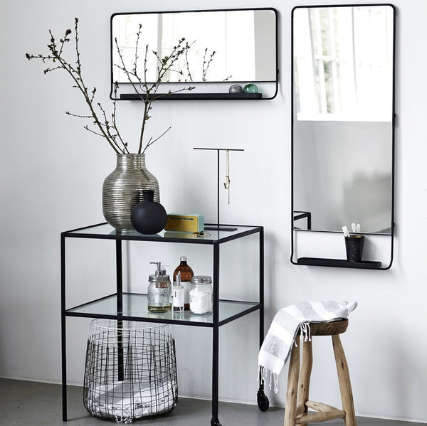 House Doctor black framed mirror with shelf - Tea and Kate