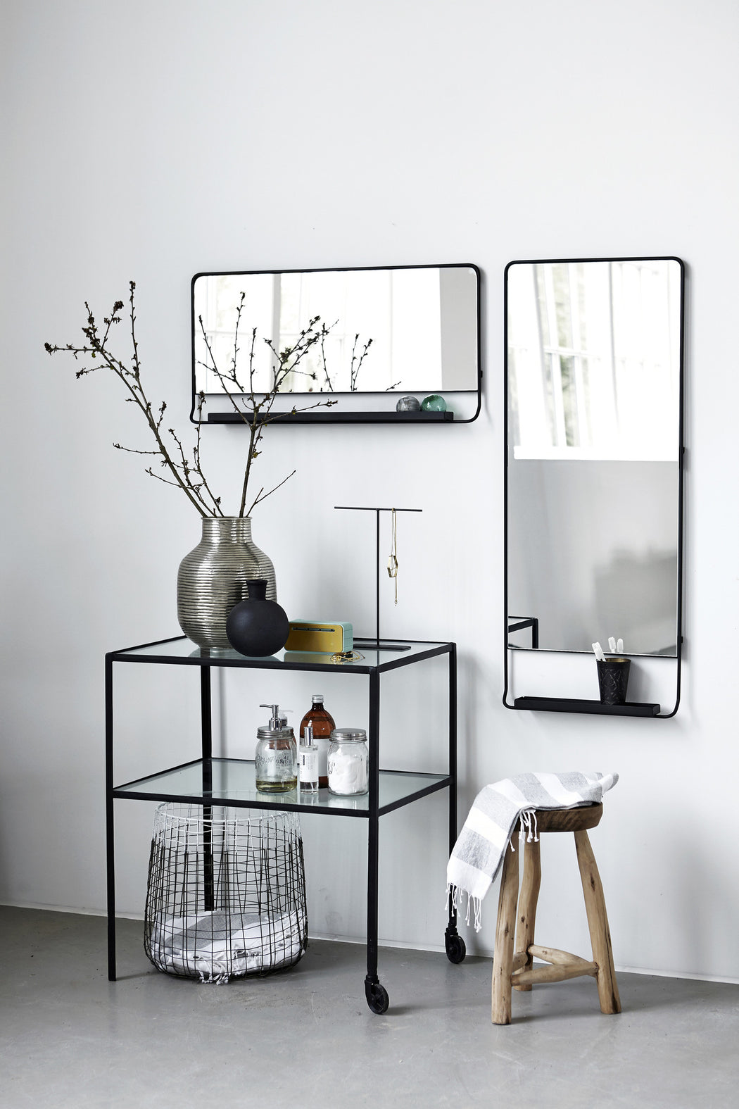 Vertical Framed Black Mirror With Shelf - Tea and Kate