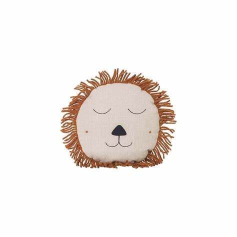SAFARI CUSHION NATURAL LION - Tea and Kate