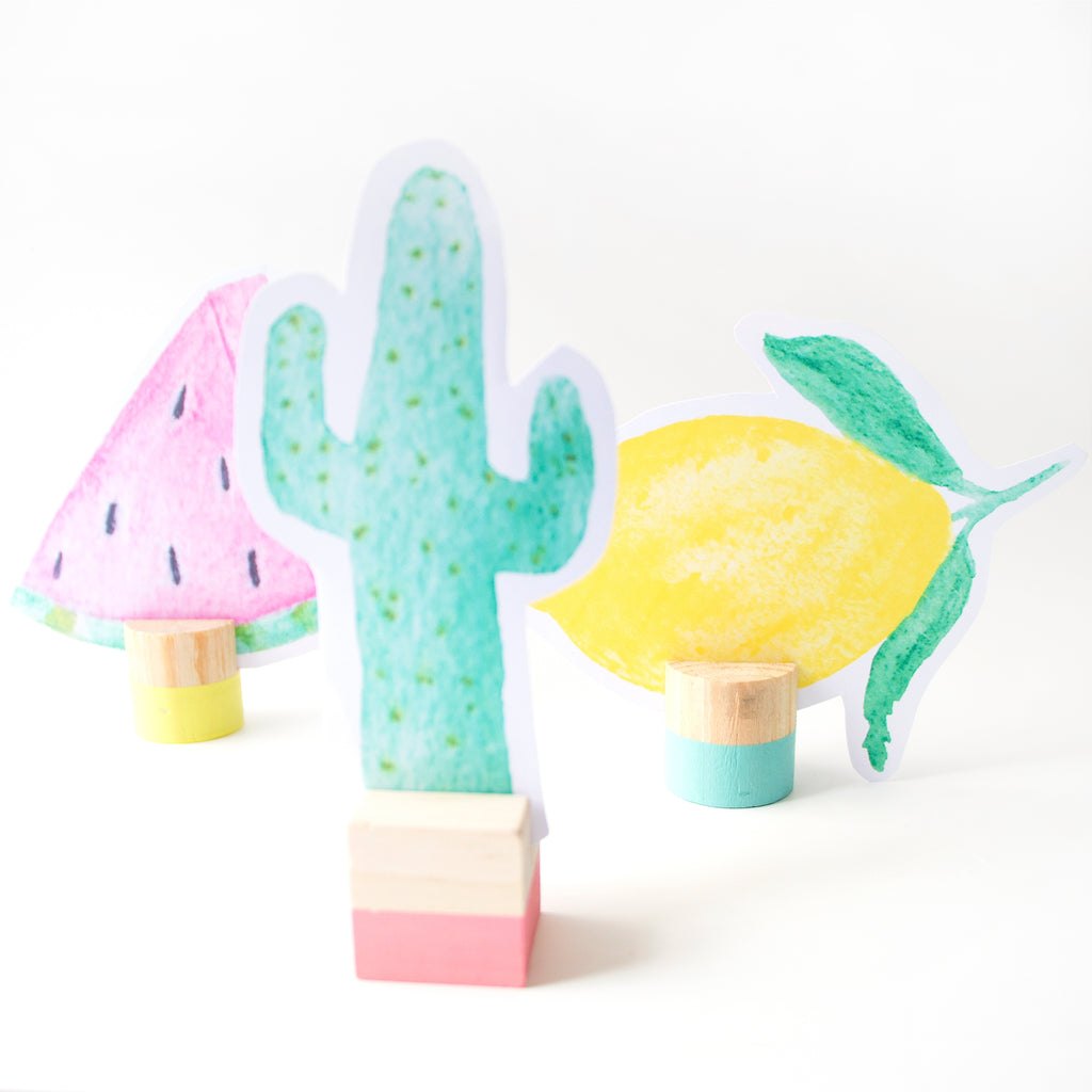 Free downloadable printable - Summer cactus tropical fruit and flamingo