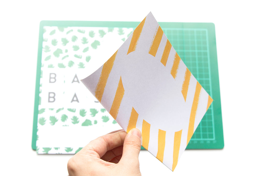 Printable Babyshower DIY Invite with palm leaves and yellow stripes
