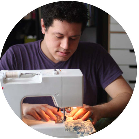 Chris sewing