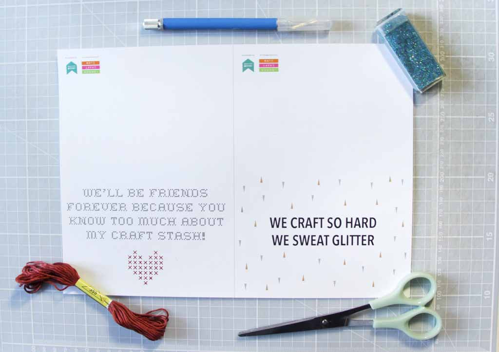 London Craft Club x Utensils0 Galentines card printable free download