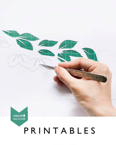 London Craft Club has teamed up with Hannah Miles of Utensils0 to bring you monthly free downloadable printables for paper art