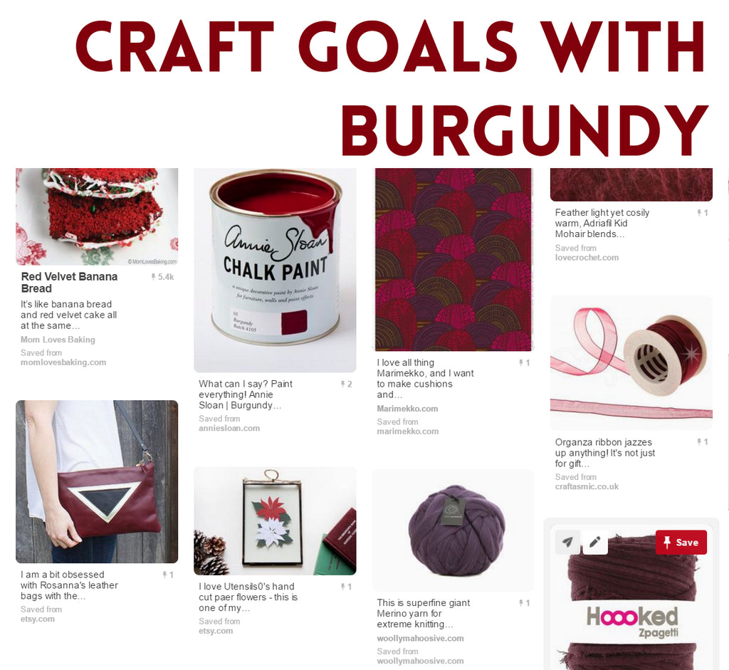 My burgundy craft goal with yarn, ribbon, paint and paper