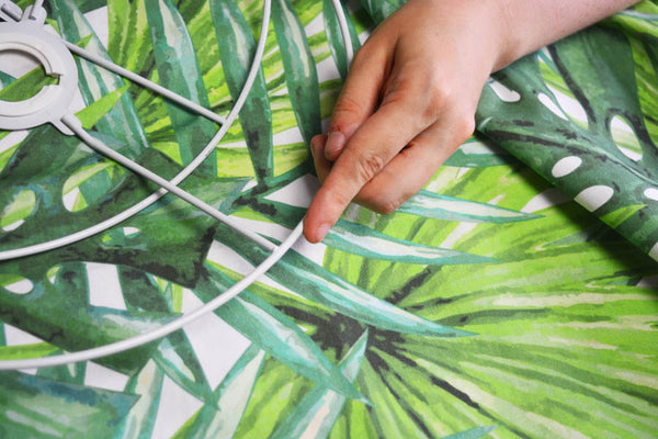 This specially printed tropical jungle banana and palm print fabric was made just for our London Craft Club Big Lampshade workshop