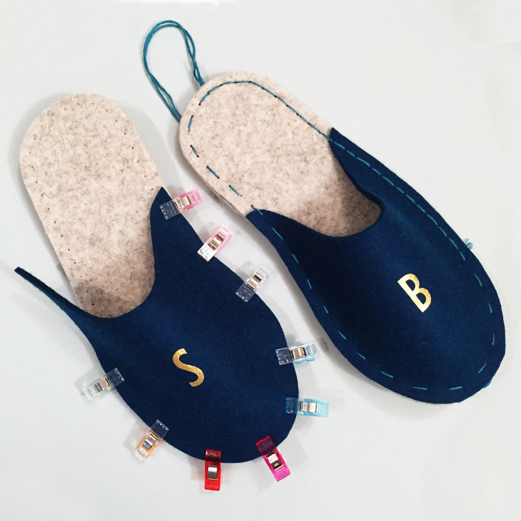 My monogramed slippers by London Craft Club