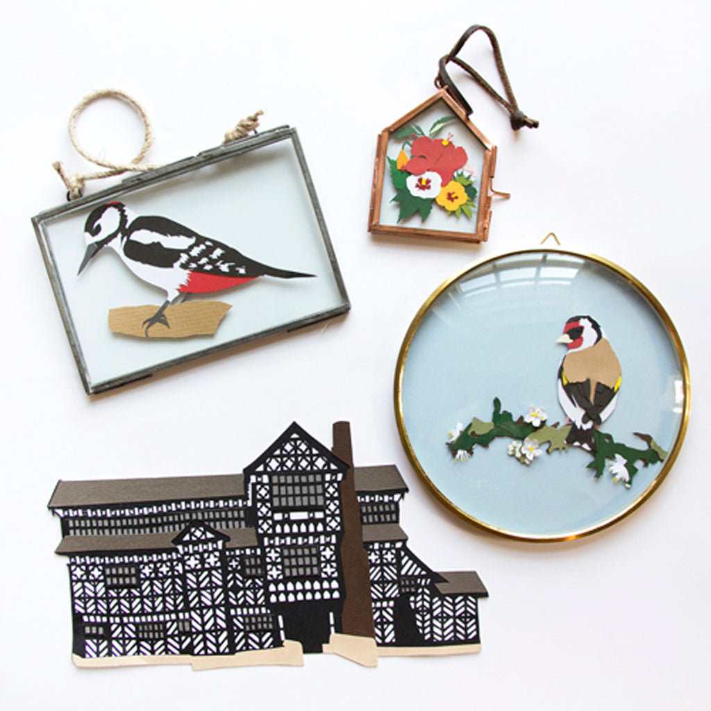 Beautiful crafted paper art with vintage english themes by Hannah Miles, that you too can learn to craft.
