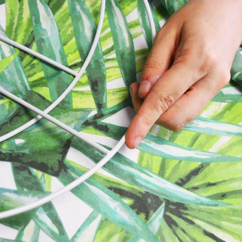 tropical print for big lampshade made in creative and crafty workshop