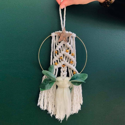 Make Three Mini Macrame Christmas Wreaths!