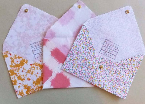 Trio of fabric envelopes for gifts and invites