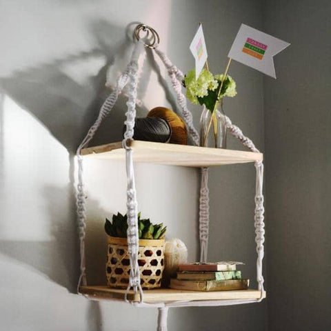 Make A Stunning  Set of Macrame Hanging Shelves
