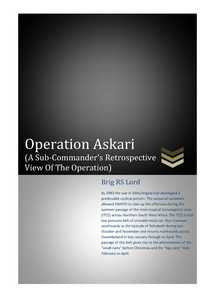 Operation Askari (A Sub-Commander's Retrospective View Of The Operation) - Brig. R.S. Lord (eBook)