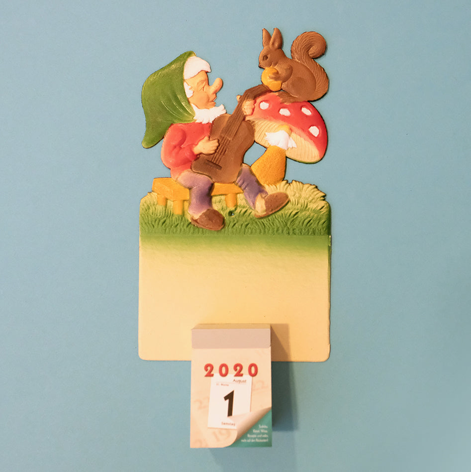 Vintage wall calendar set-Little dwarf with guitar