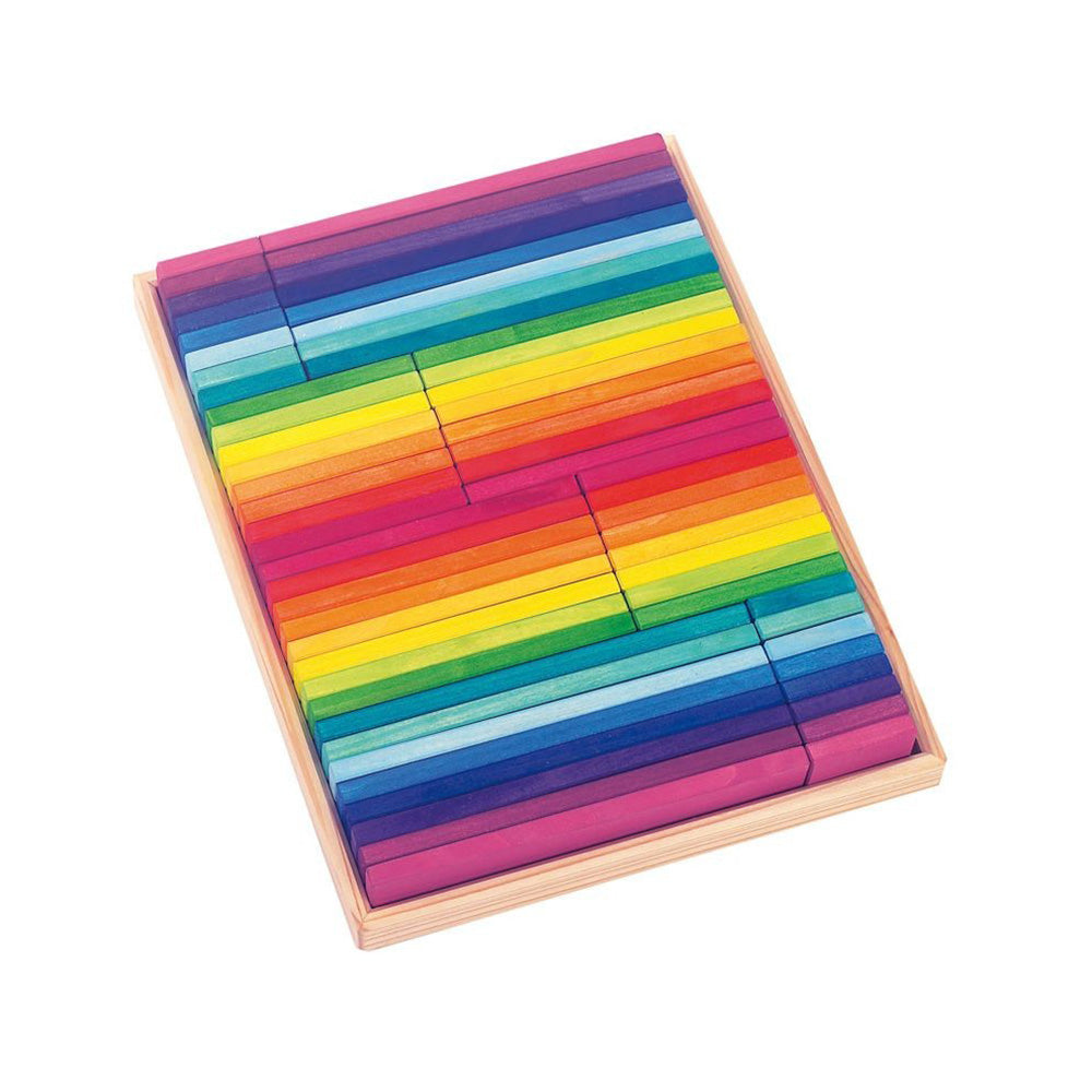 Rainbow wooden flat block