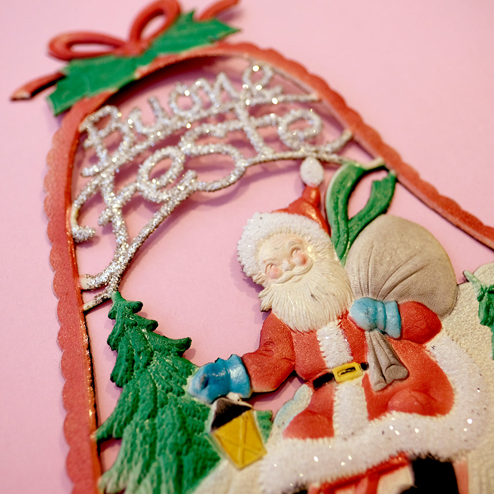 Vintage window decor-Santa Claus in the bell