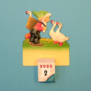 Vintage wall calendar set-little dwarf with 3 geese